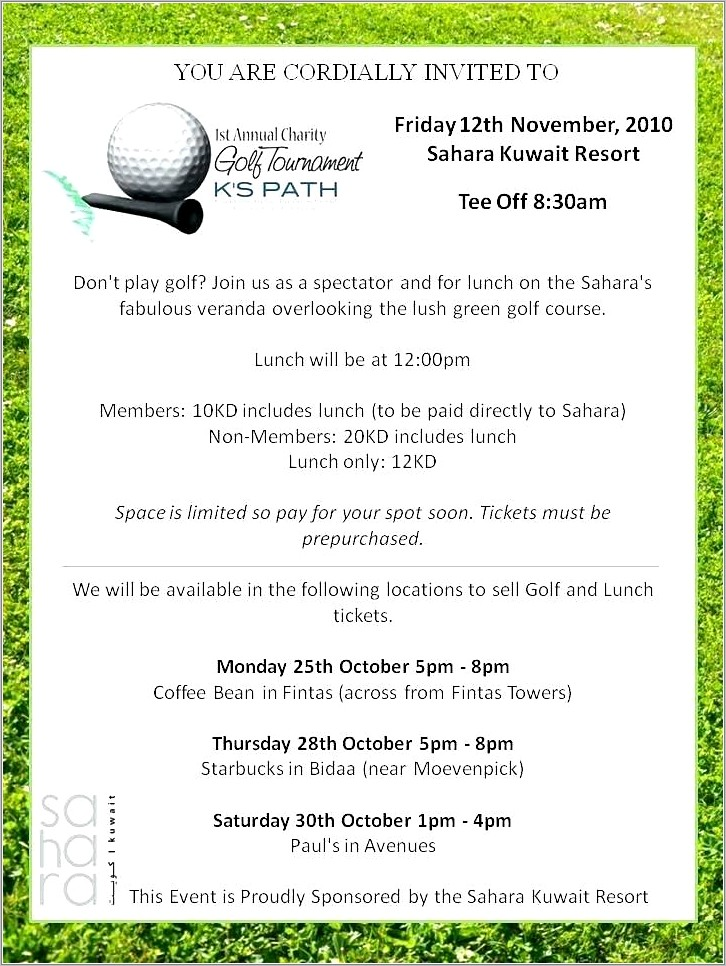 Golf Day Invitation Template Free