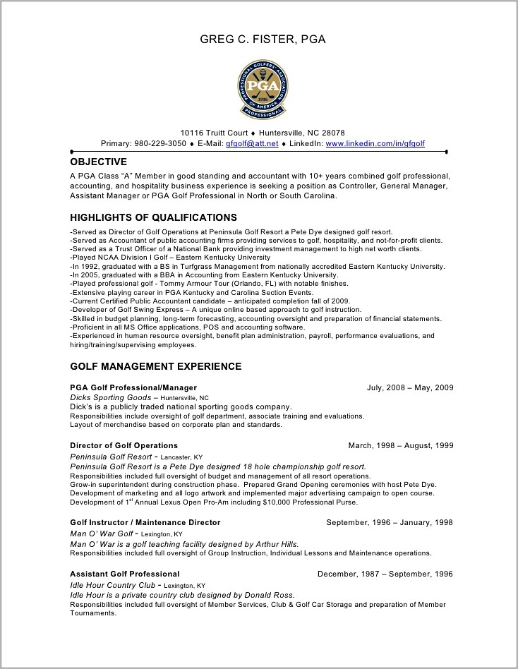 Golf Professional Resume Templates