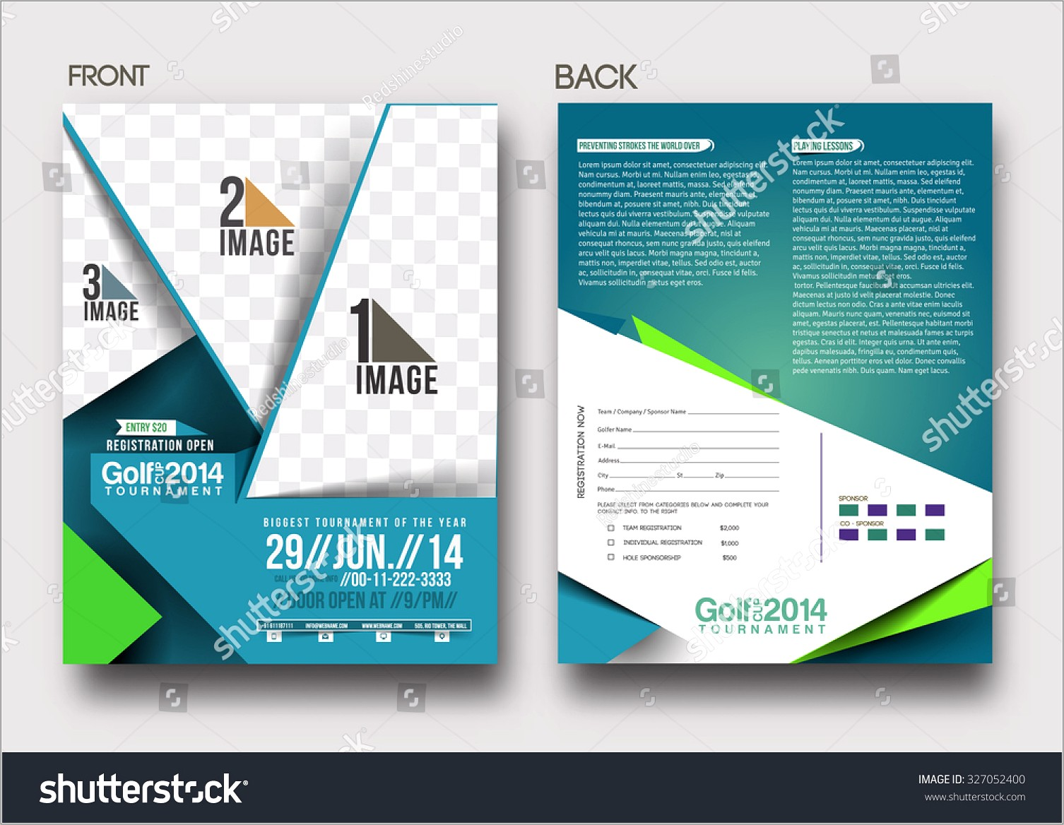 Golf Tournament Front Back Flyer Template