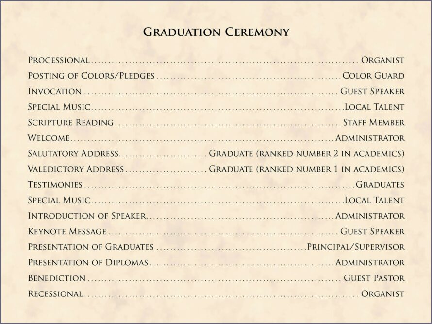 Graduation Ceremony Booklet Template