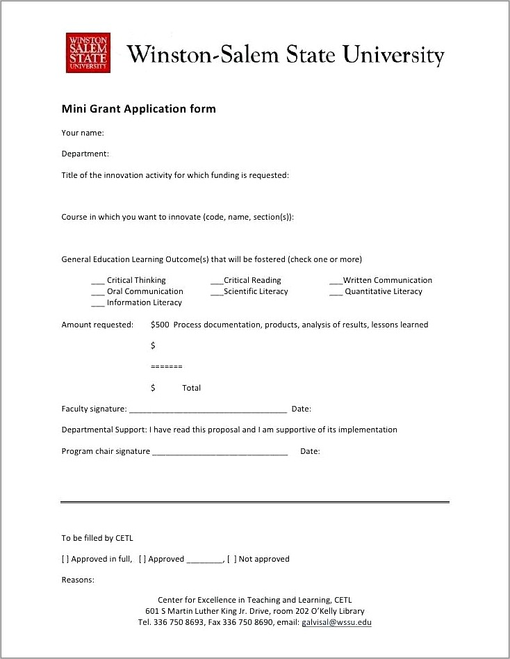 Grant Writing Sample Templates