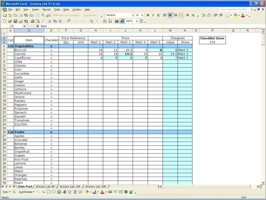 Grocery Inventory Spreadsheet Template