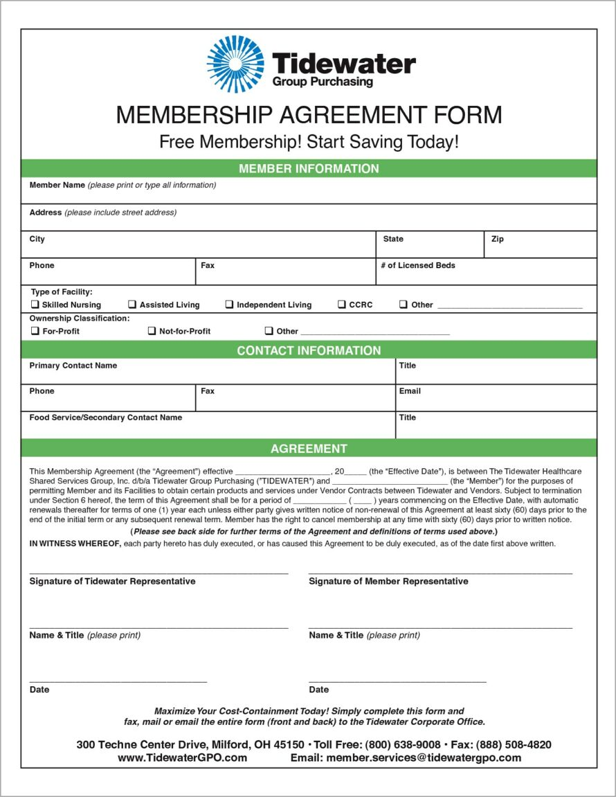 Gym Membership Agreement Form