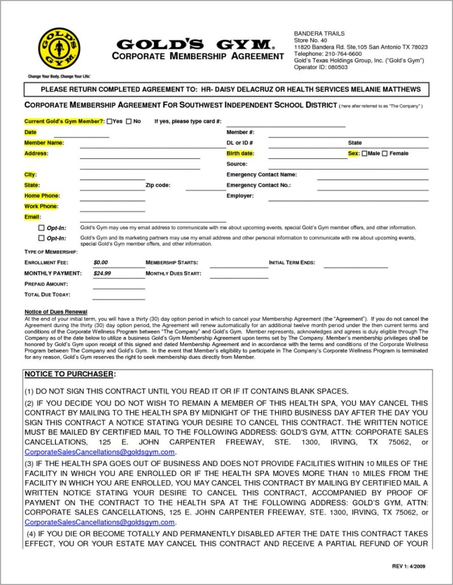 Gym Membership Contract Sample