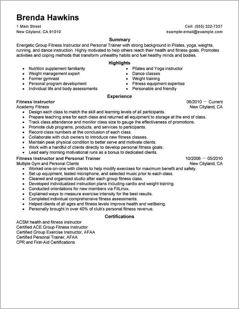 Gym Trainer Cv Format Word