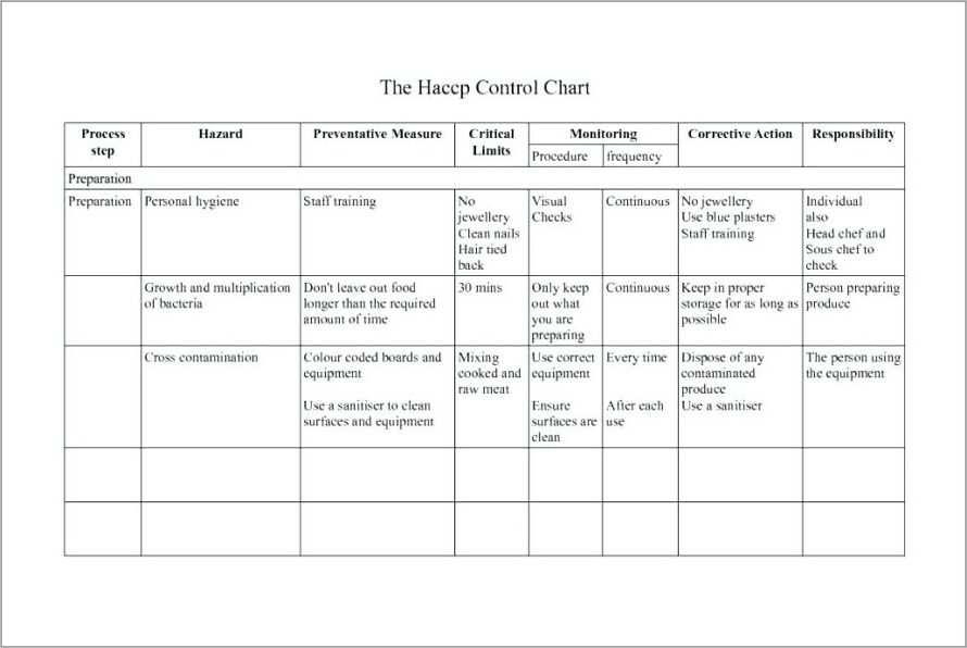 Haccp Plan Flow Chart Template