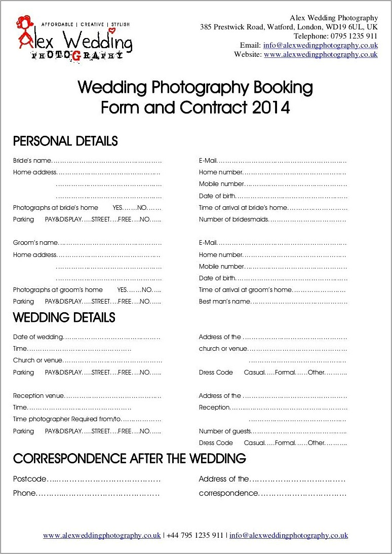 Hair And Makeup Contract Form