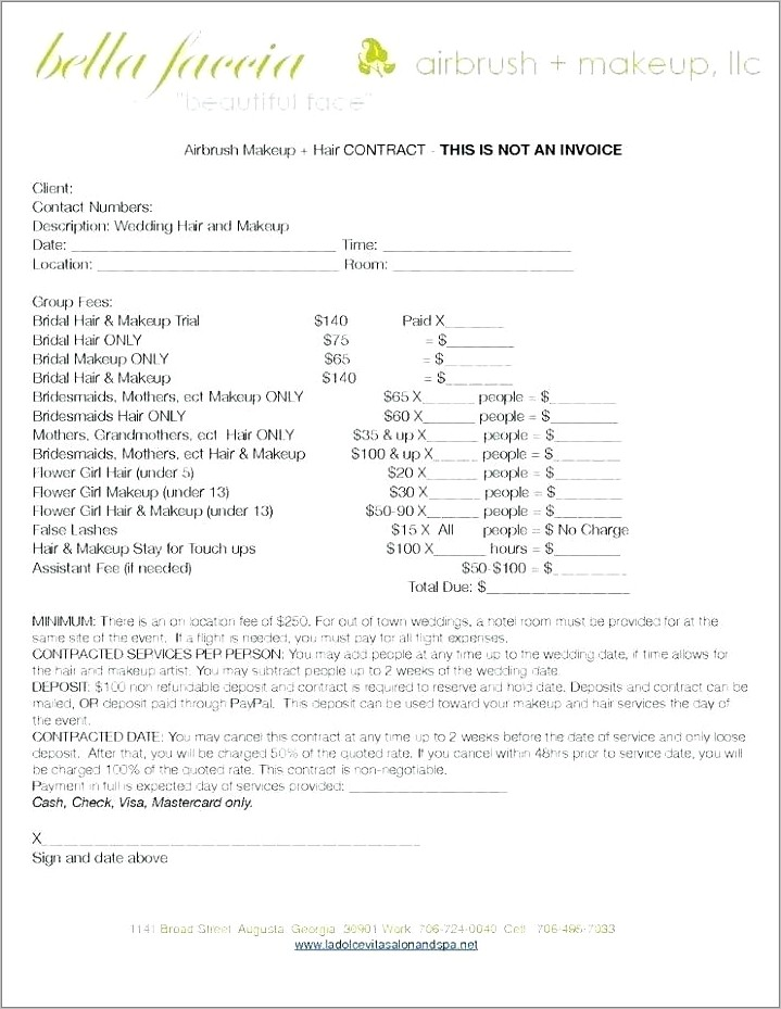 Hair And Makeup Contract Sample