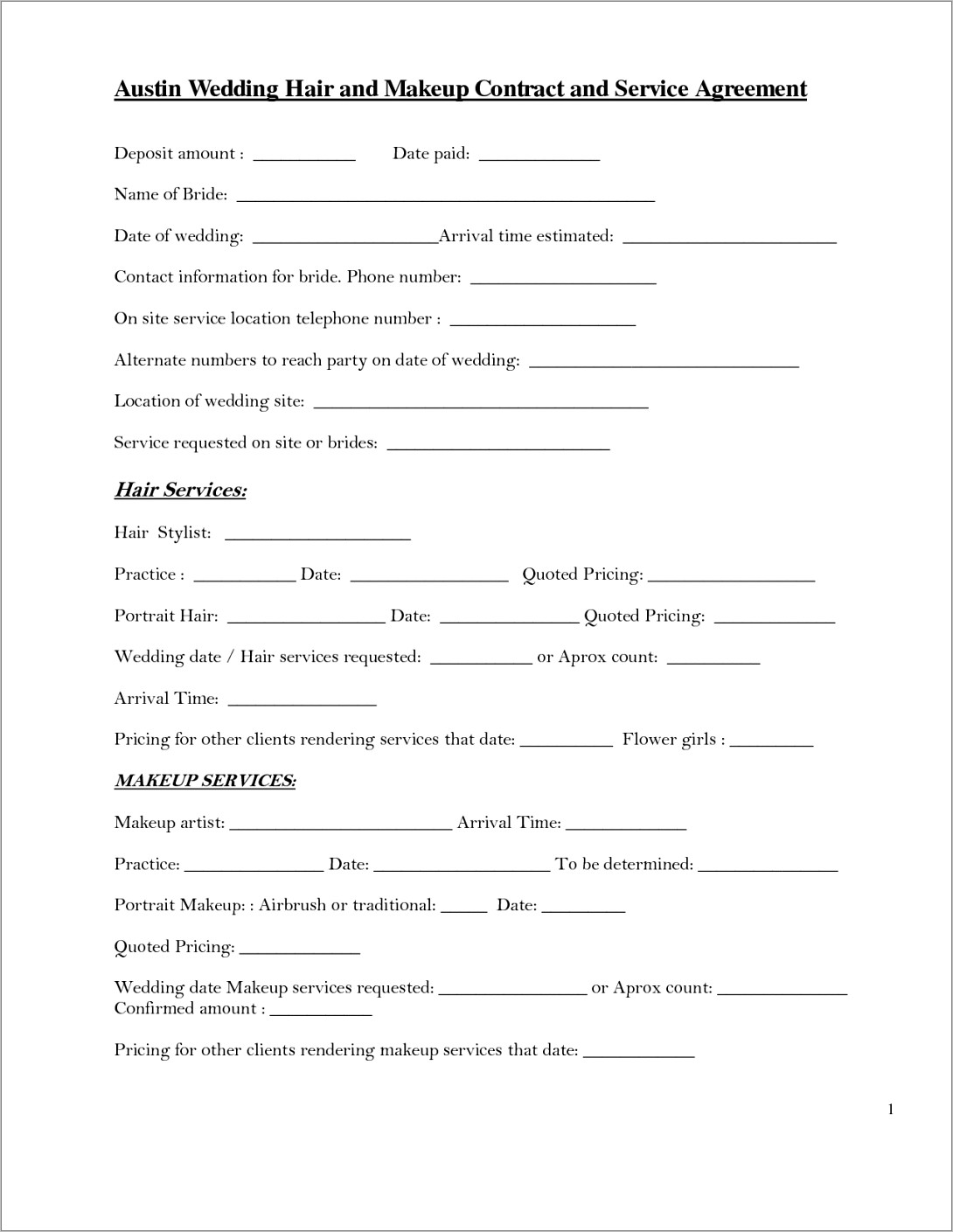 Hair And Makeup Contract Template