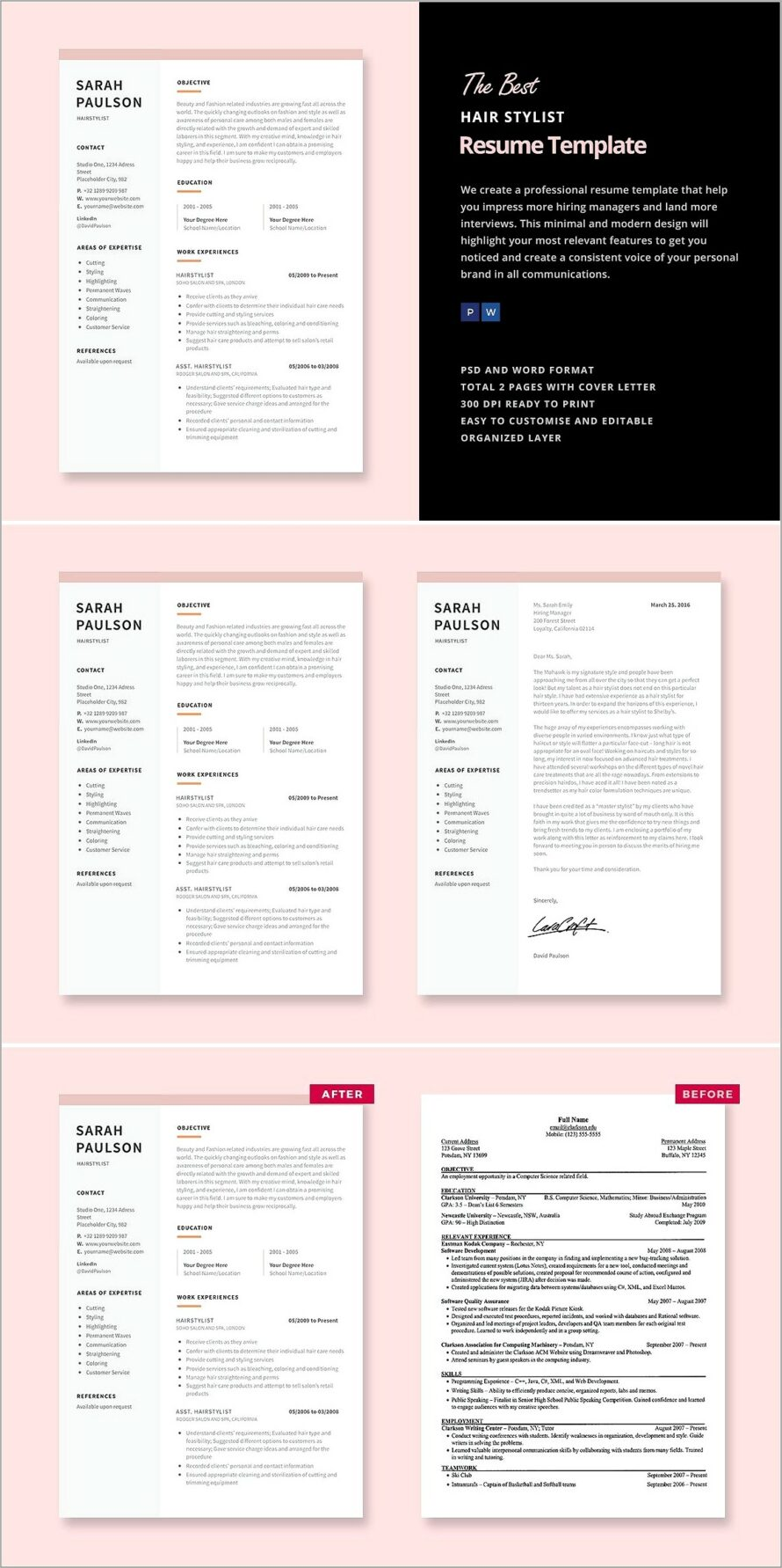 Hair Stylist Resume Template Word