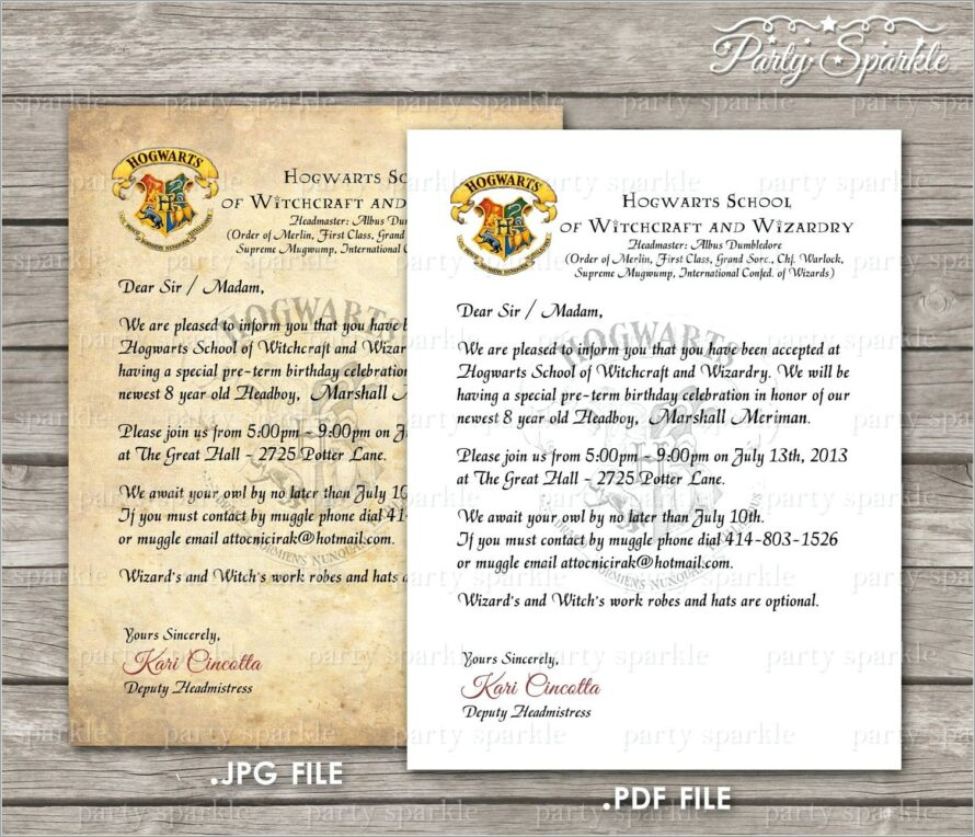 Harry Potter Acceptance Letter Birthday Invitation Template
