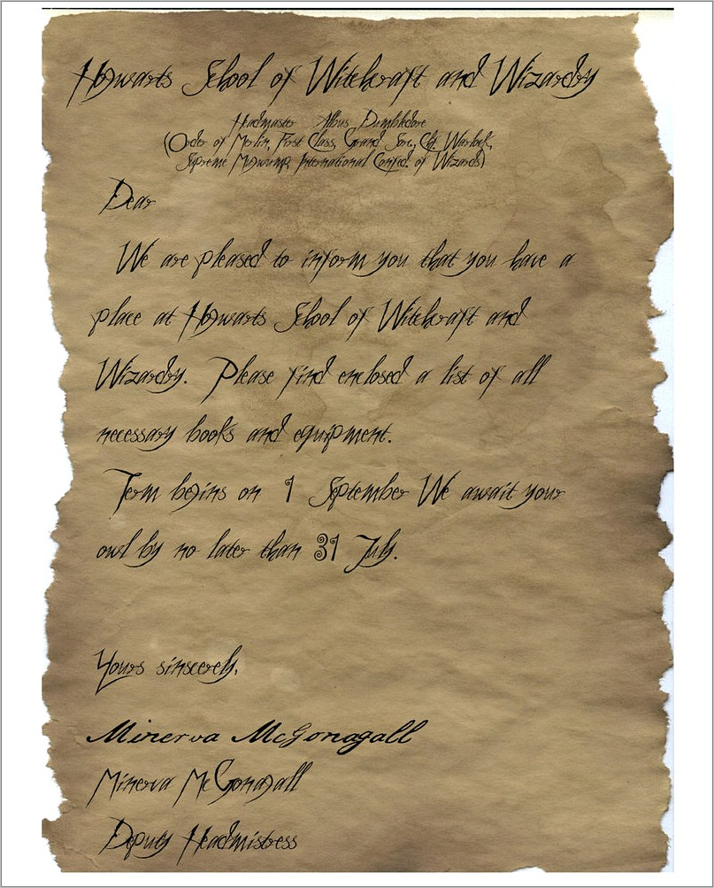 Harry Potter Hogwarts Acceptance Letter Template