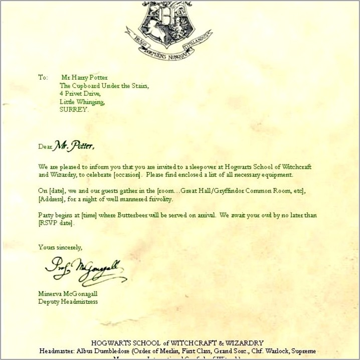 Harry Potter Hogwarts Letter Template Word
