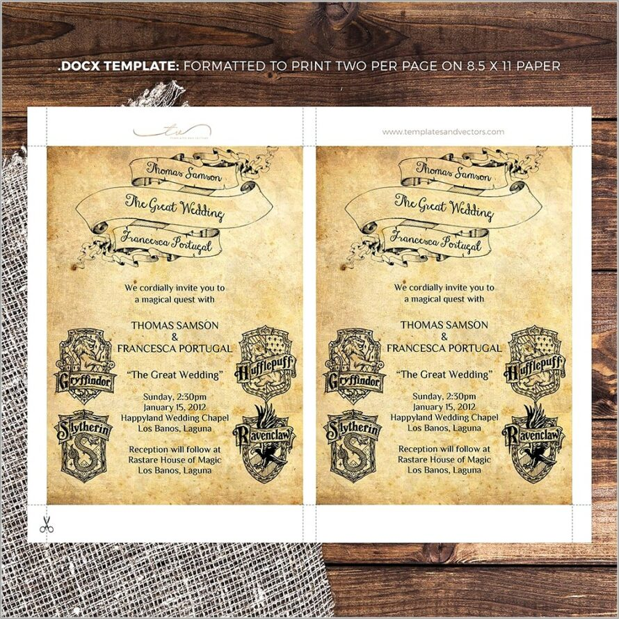 Harry Potter Wedding Invitation Templates