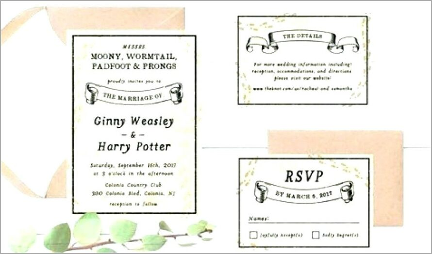 Harry Potter Wedding Invitations Template