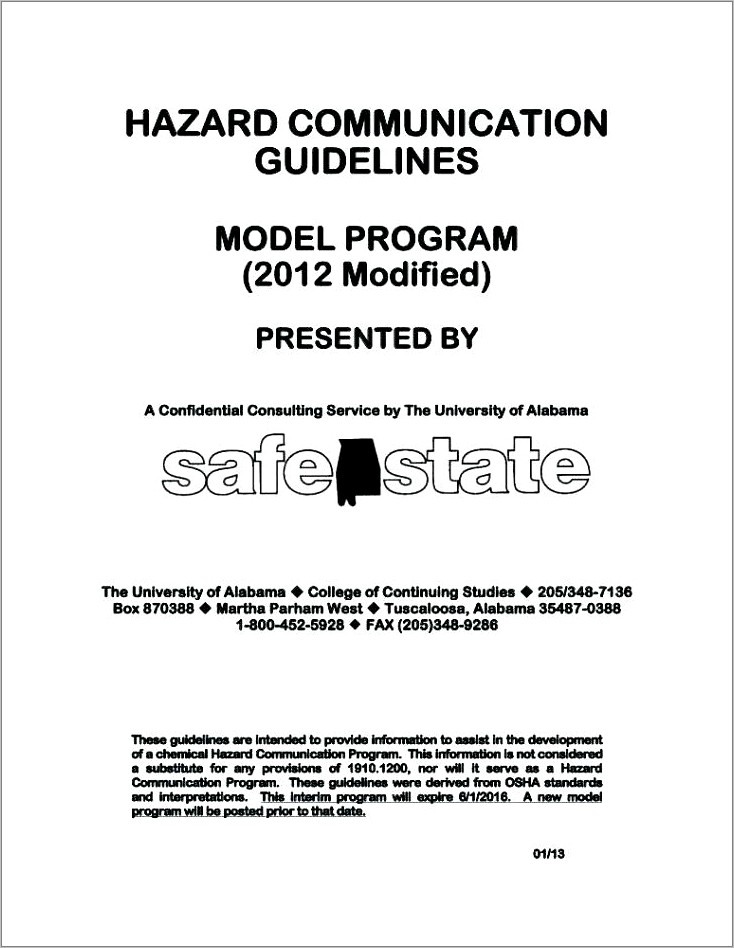 Hazard Communication Program Template California