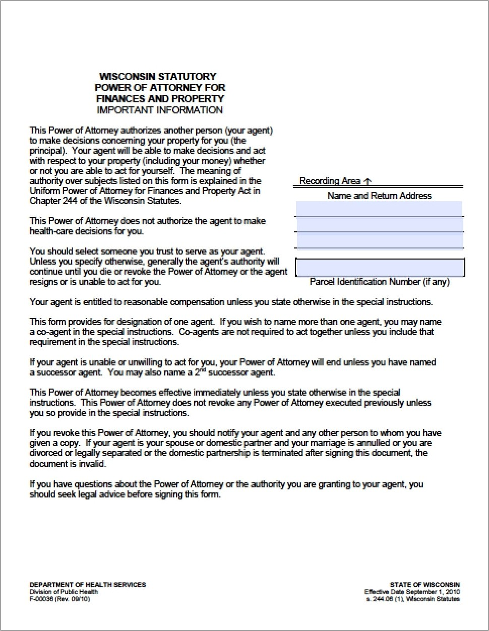 Health Care Power Of Attorney Form Wisconsin