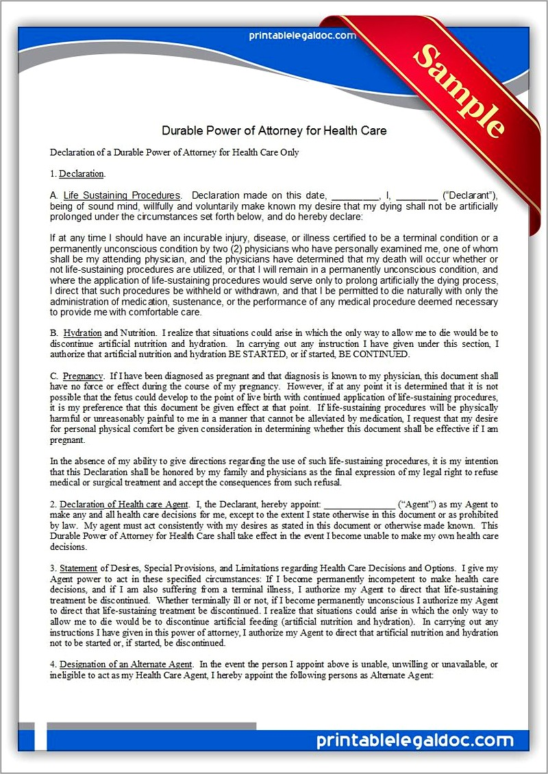 Health Care Power Of Attorney Forms