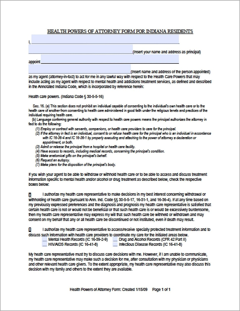 Health Care Power Of Attorney Paperwork