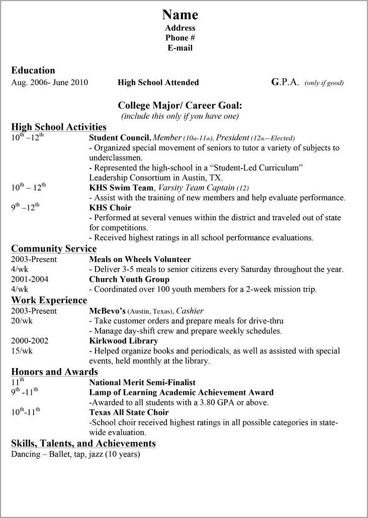 High School Resume Examples For College