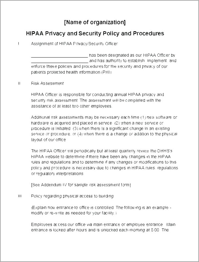 Hipaa Privacy Policy Samples