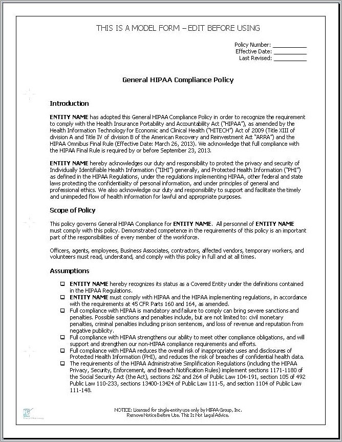 Hipaa Privacy Policy Templates