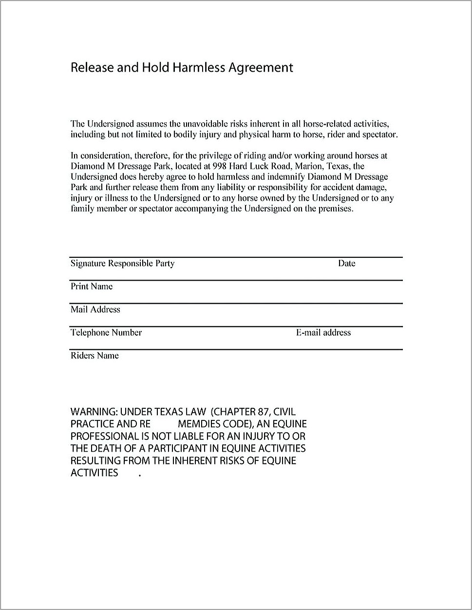 Hold Harmless Agreement Template Free Download