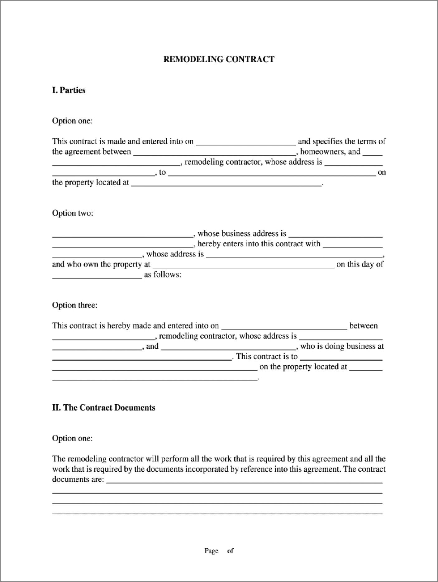 Home Improvement Contract Forms California