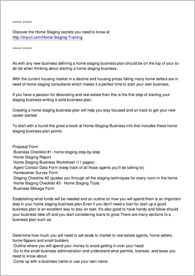 Home Staging Business Plan Template Pdf