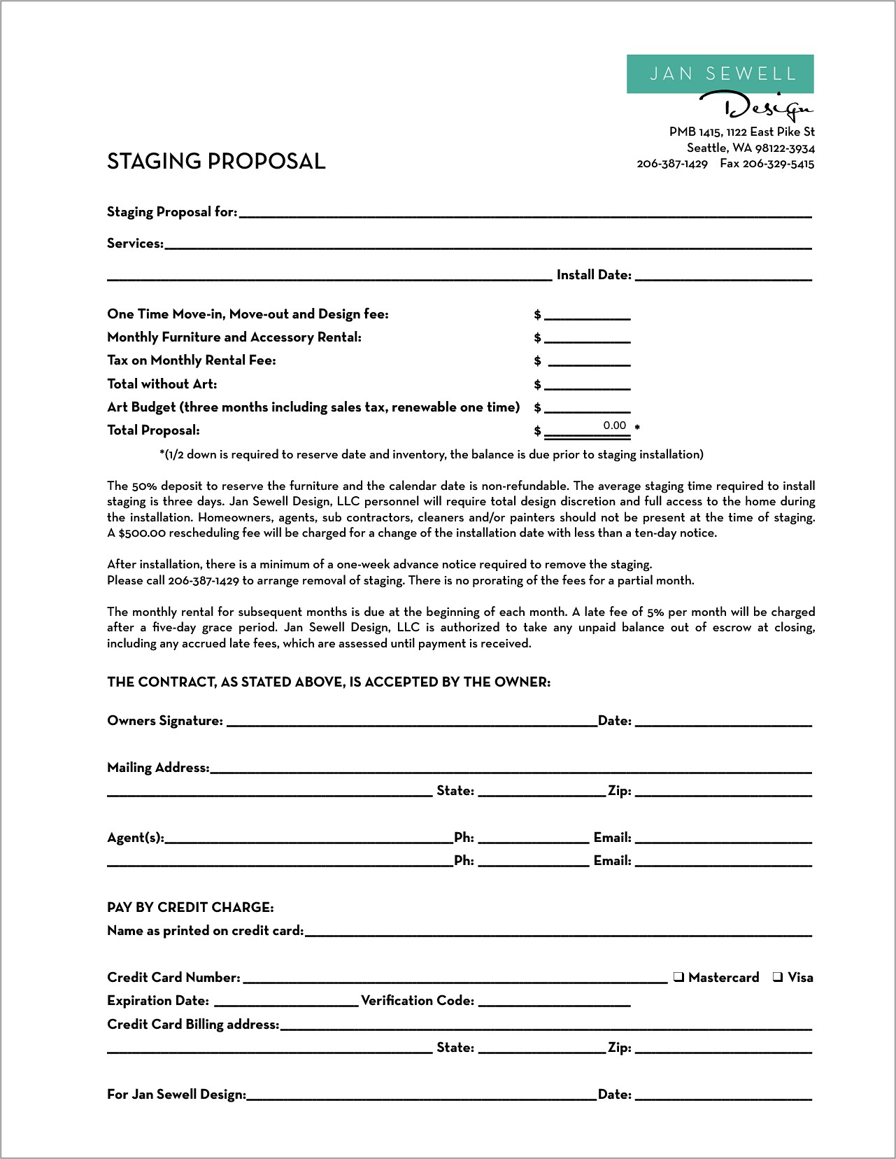 Home Staging Business Plan Template