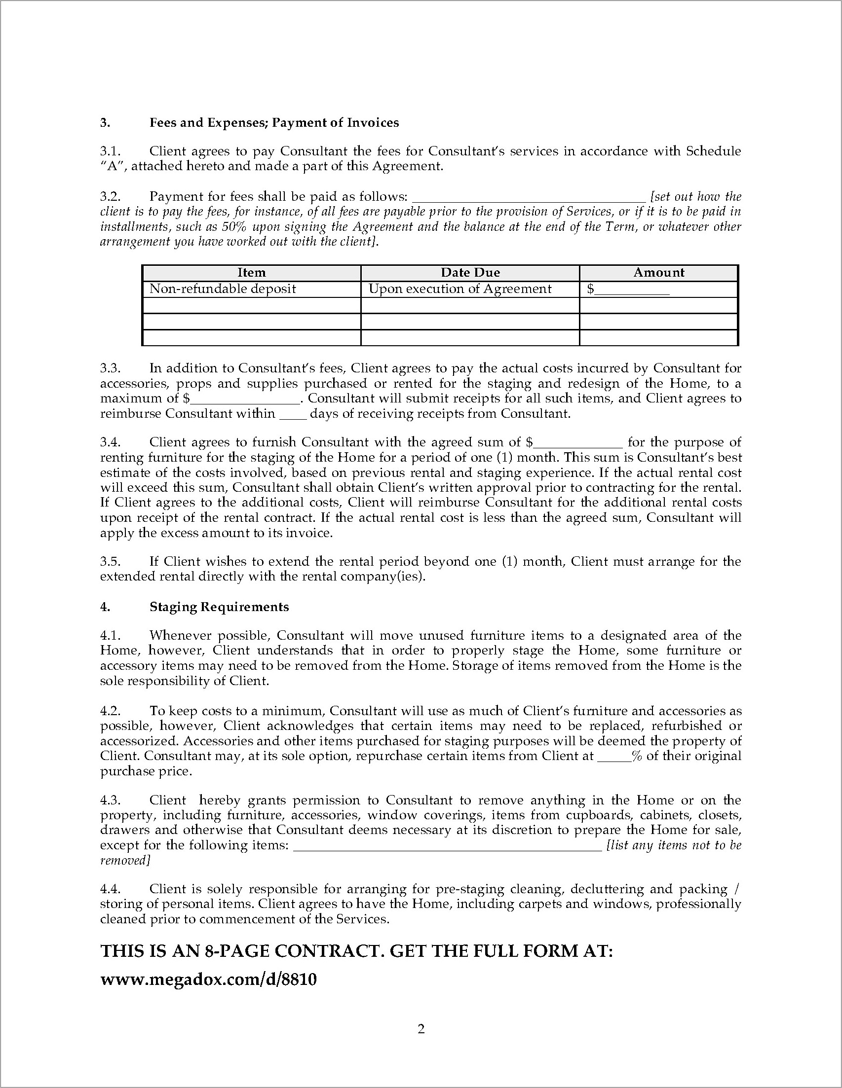 Home Staging Contract Forms