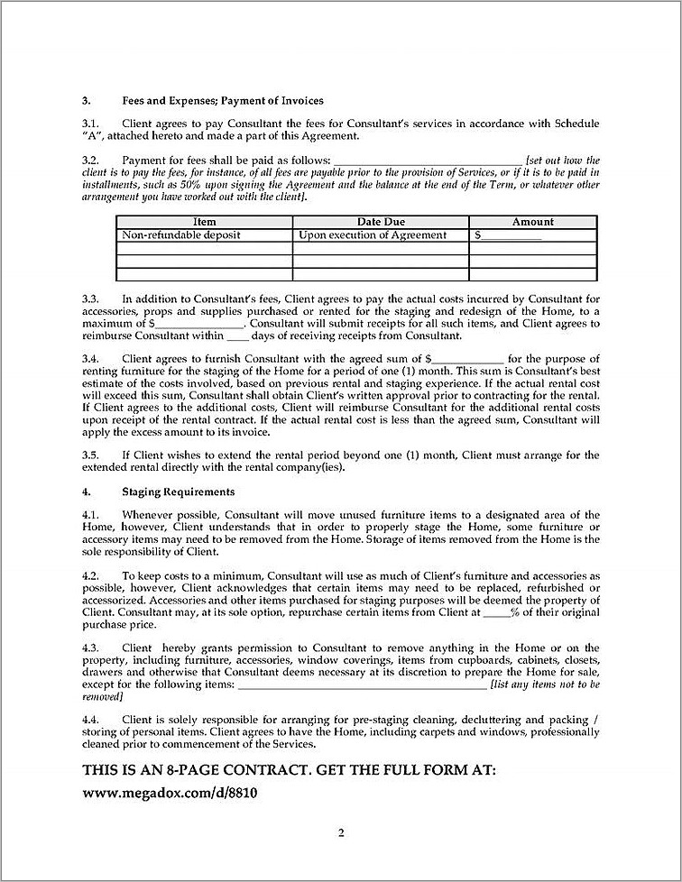 Home Staging Contract Sample