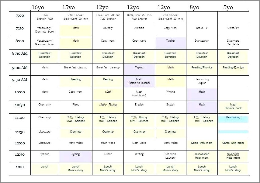 Homeschool Daily Schedule Template Free