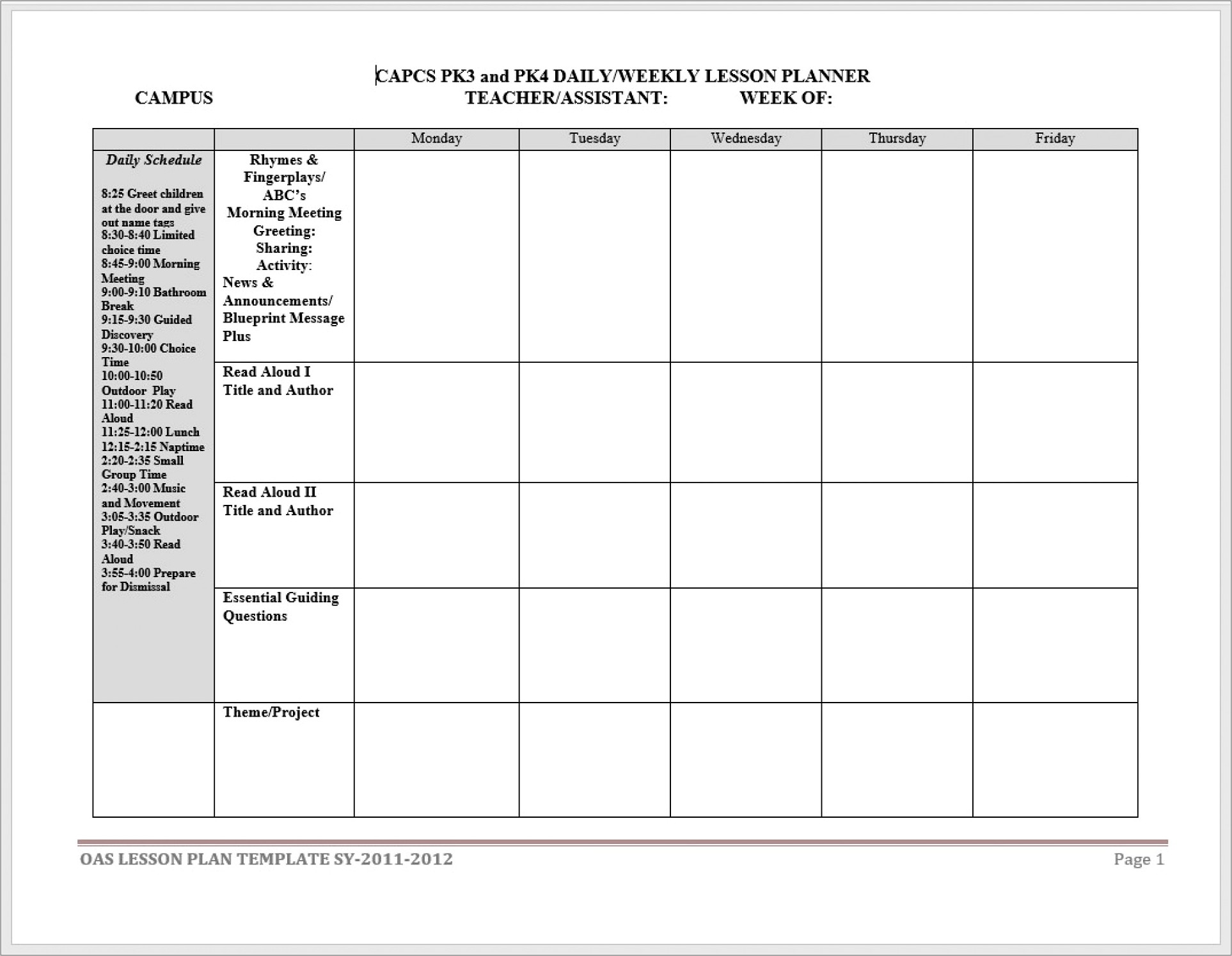 Homeschool Lesson Planner Template Free