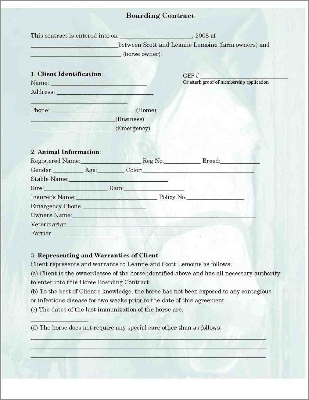 Horse Boarding Contract Examples