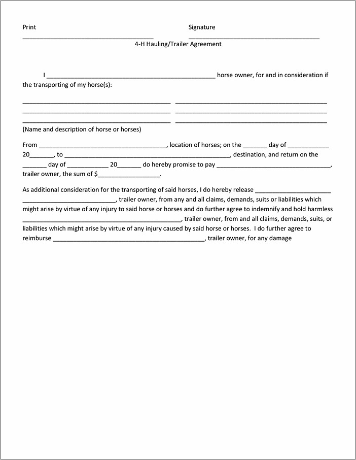 Horse Lease Agreement Form