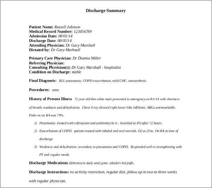 Hospital Discharge Letter Template