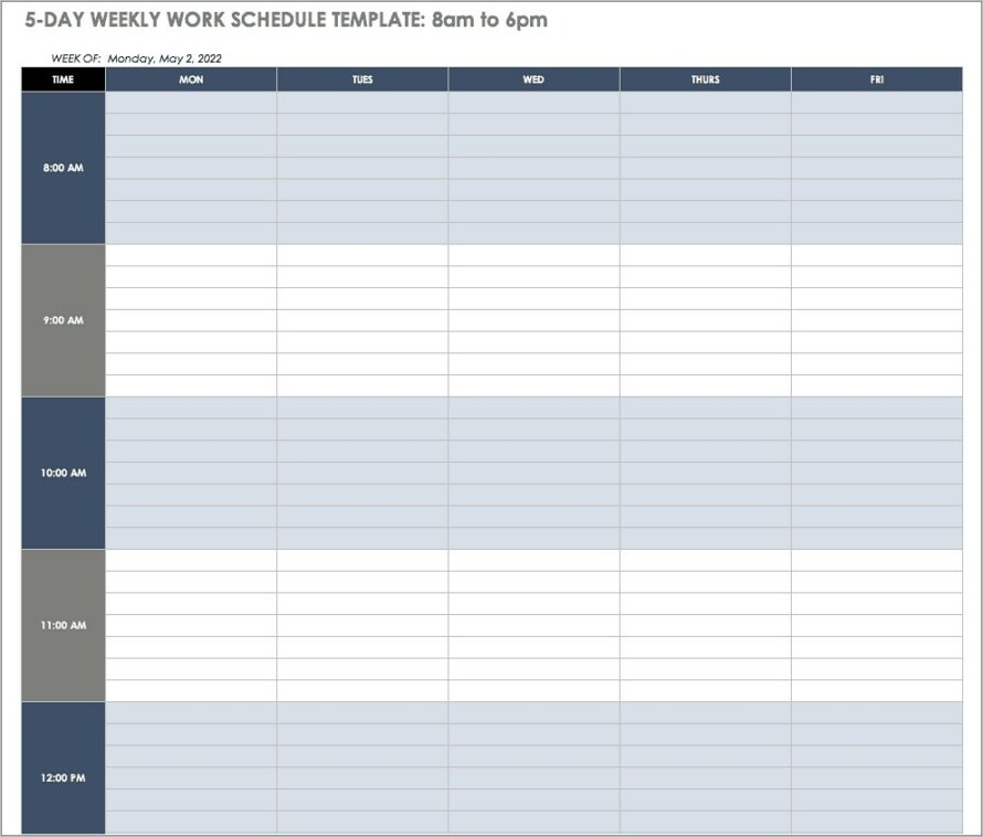 Hourly Employee Work Schedule Template