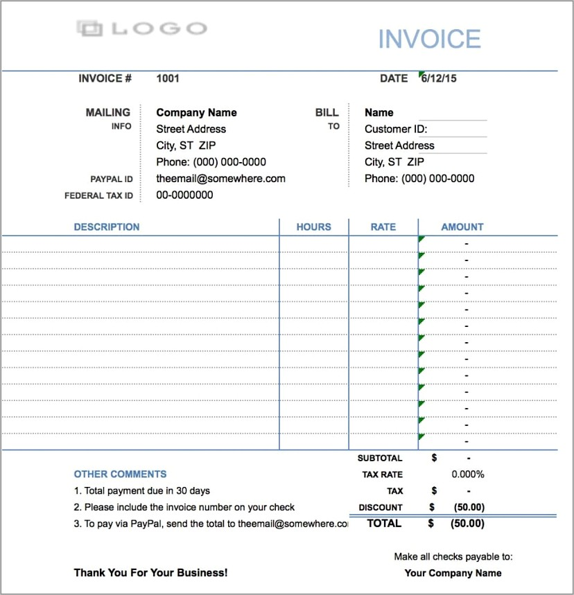 Hourly Rate Invoice Template Free