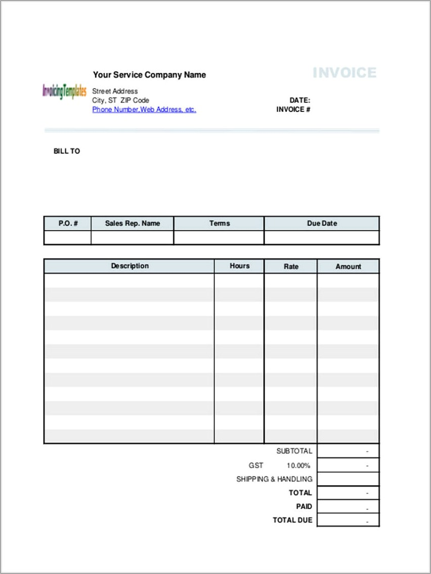 Hourly Service Invoice Template Word