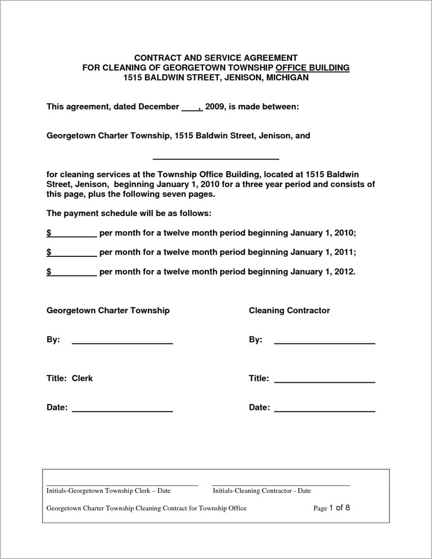 House Cleaning Agreement Contract