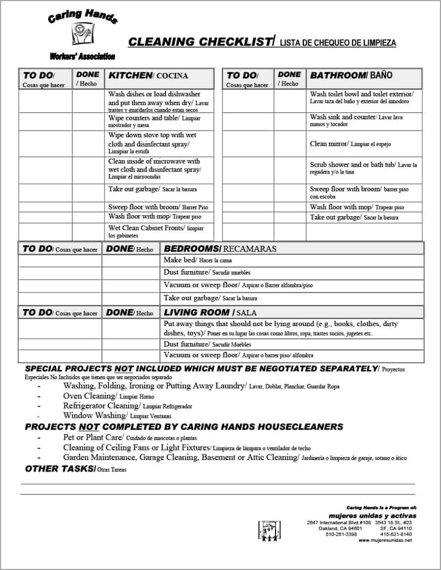 House Cleaning Checklist Template