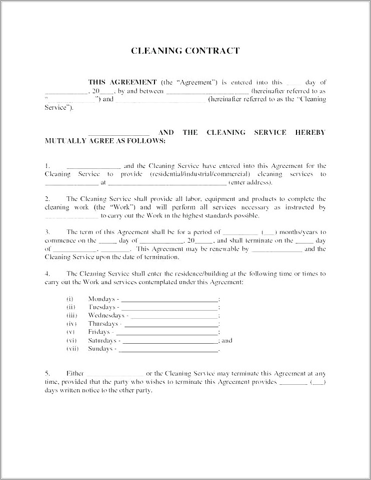 House Cleaning Contract Forms Free