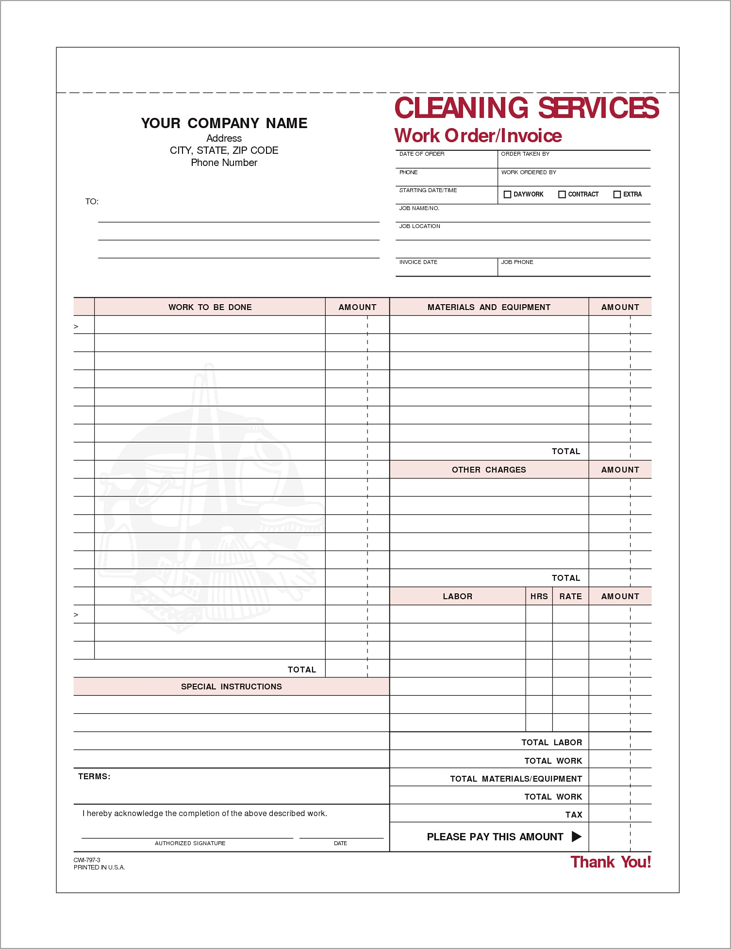 House Cleaning Invoice Example