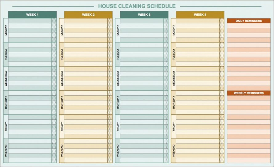 House Cleaning Schedule Template Family