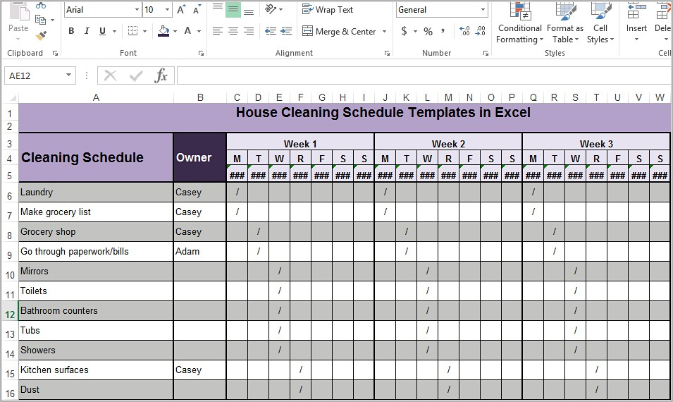 House Cleaning Schedule Templates