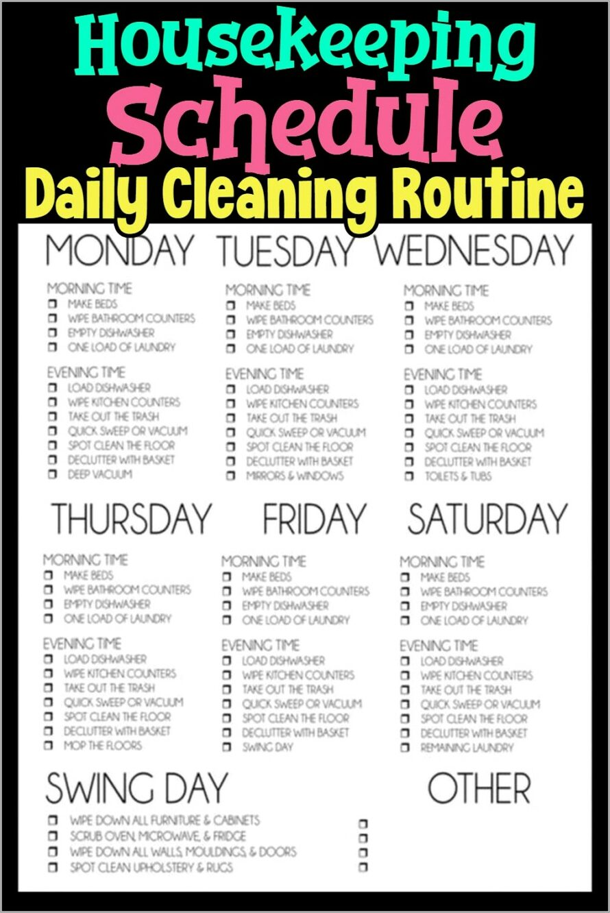 House Cleaning Schedules Checklists