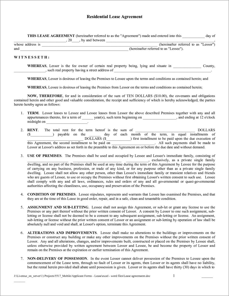 House Lease Agreement Samples