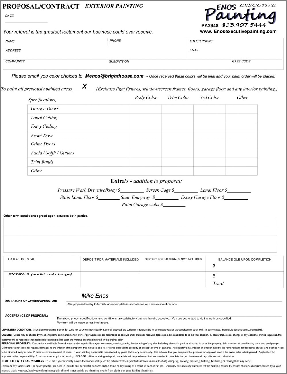 House Painting Contract Form