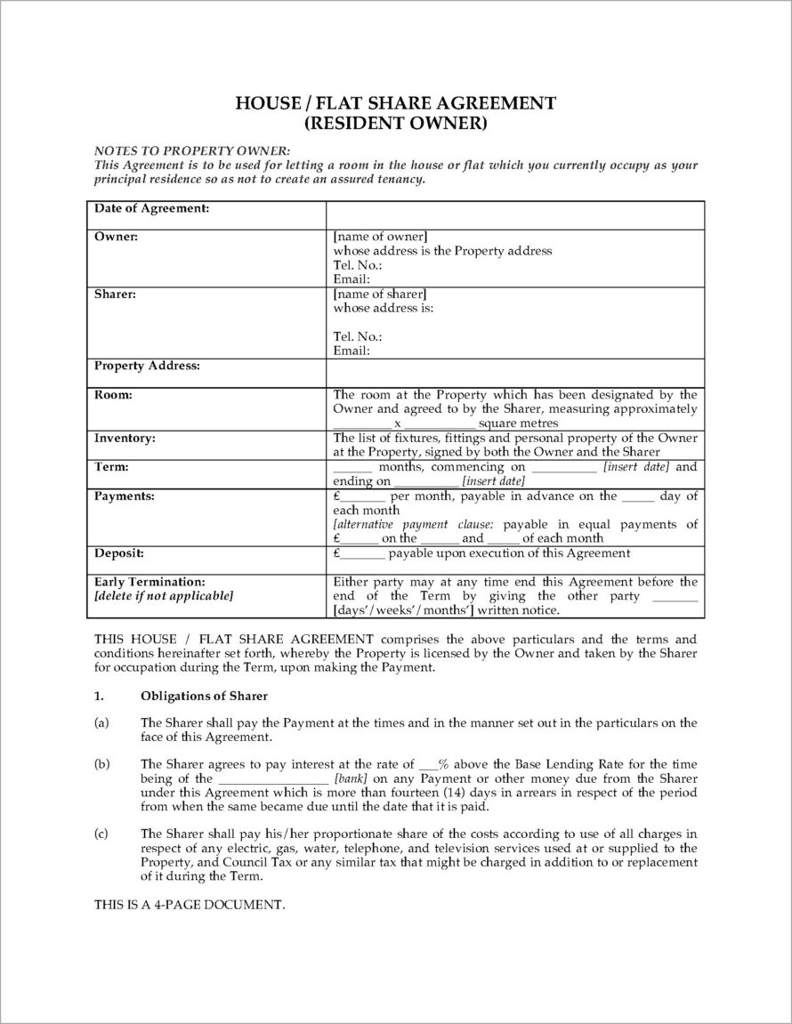 House Share Tenancy Agreement Template